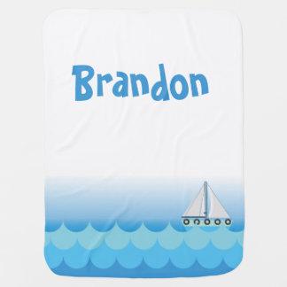 Blue Baby Boy Sailing Boat Sailor Ocean Sea Lake Baby Blanket