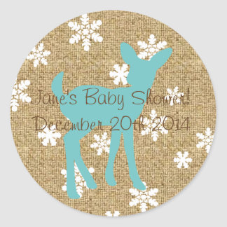 Blue Baby Deer and Snowflakes Burlap Sticker