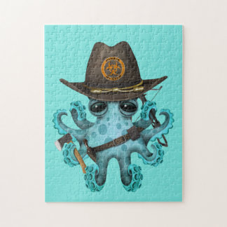 Blue Baby Octopus Zombie Hunter Jigsaw Puzzle