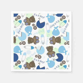 Blue Baby Shower Pattern Disposable Napkin