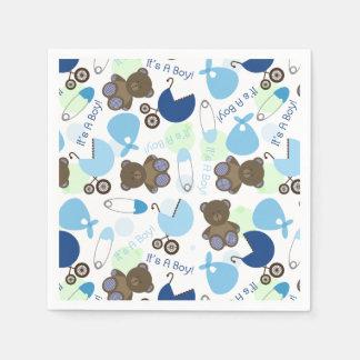 Blue Baby Shower Pattern Paper Napkins