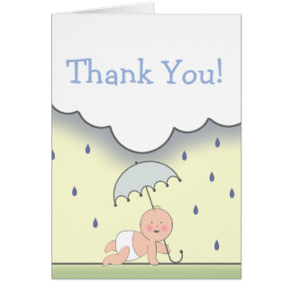 Blue Baby Shower Thank You Card