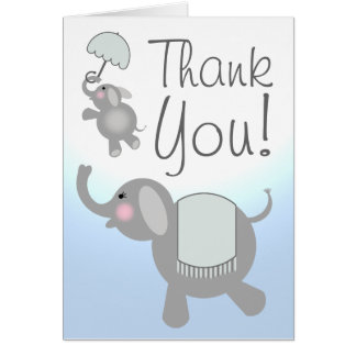 Blue Baby Shower Thank You Card - Elephants
