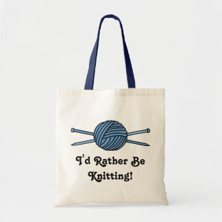 Blue Ball of Yarn & Knitting Needles Tote Bag