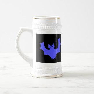 Blue Bat Cartoon. Black background. Coffee Mugs