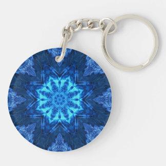 Blue Batik Mandala Keychain