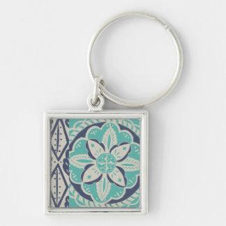 Blue Batik Tile IV Key Ring