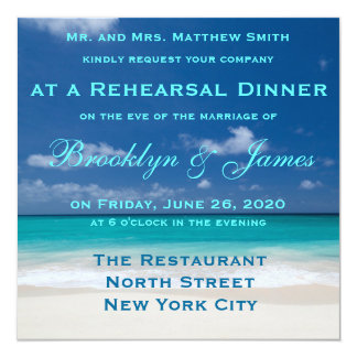 Blue Beach Wedding Rehearsal Dinner Invitations