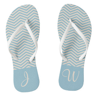 Blue & Beige Chevron Chic Wavey Pattern Monogram Thongs