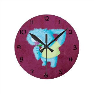 Blue Big Furry Monster Round Clock