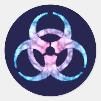 Blue Biohazard Symbol Classic Round Sticker
