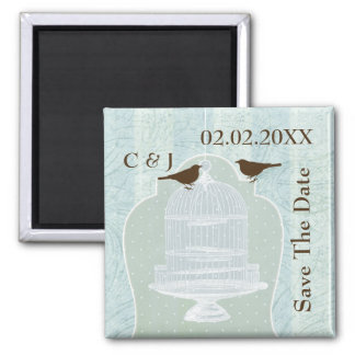 blue bird cage, love birds save the date magnets
