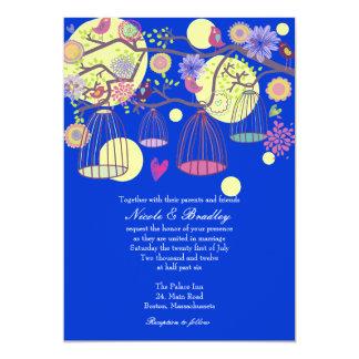 Blue Bird Cage Love Birds Wedding Invitation
