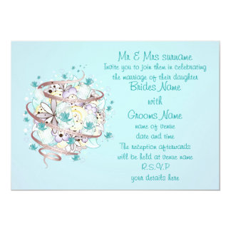 Blue Bird Cages Wedding 5x7 Paper Invitation Card