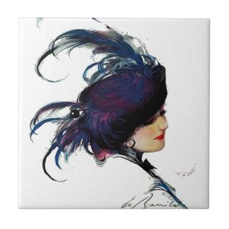Blue-bird Lady Tile