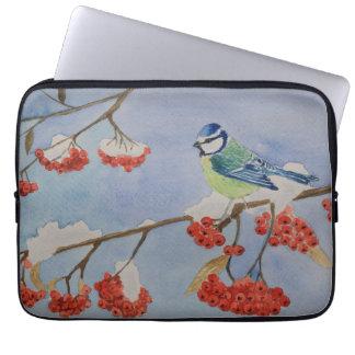 Blue bird on a rowan tree branch computer sleeves