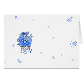 Blue Bird Snowflake Cartoon Holiday Card