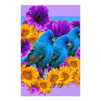 BLUE BIRDS FLOWERS BLUE ART STATIONERY