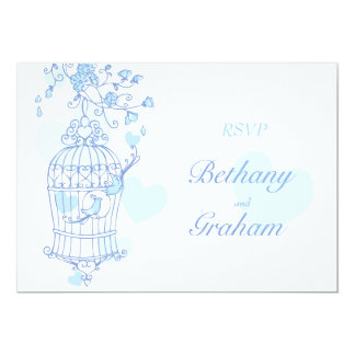 Blue birds open cage wedding reply card RSVP