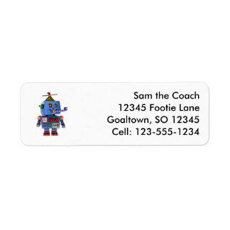 Blue birthday party toy robot return address label