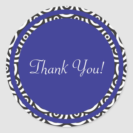 Blue Black and White Retro Thank You Sticker