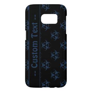 Blue Black Biohazard Pattern Case w/ Custom Text