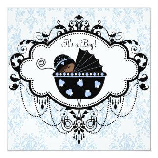 Blue Black Damask Baby Boy Shower Invitations
