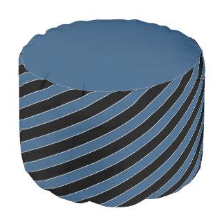 Blue black diagonal pinstripes round pouffe