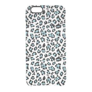 Blue Black Leopard Animal Print Pattern Clear iPhone 6/6S Case