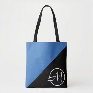Blue Black Monogram Tote Bag