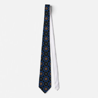 Blue Black Orange White Mandala Kaleidoscope Tie