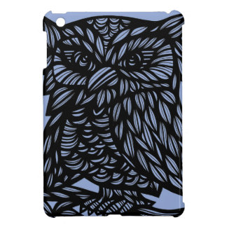 Blue Black Owl Artwork Drawing Case For The iPad Mini