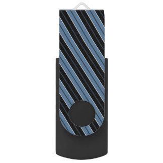 Blue black white diagonal pinstripes swivel USB 2.0 flash drive