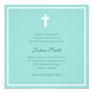 Blue Blessing 13 Cm X 13 Cm Square Invitation Card