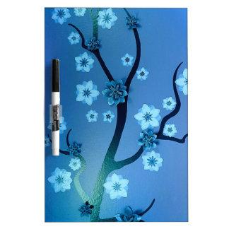 Blue Bokah Blossom Branches Dry Erase Board