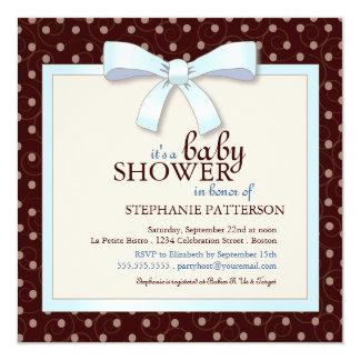 Blue Bow Polka Dot Boy Baby Shower Invitation