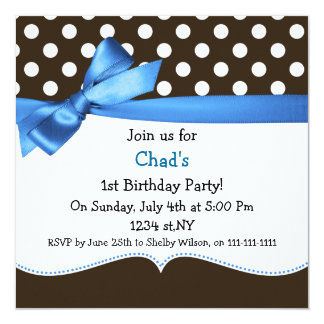 blue bow polka dots first birthday party 13 cm x 13 cm square invitation card