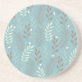 Blue Branches and Leaves Background Drink Coaster