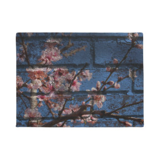 Blue Brick and Pink Blossom Doormat