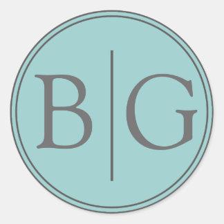 Blue Bride Groom Monogram Wedding Favour Round Sticker
