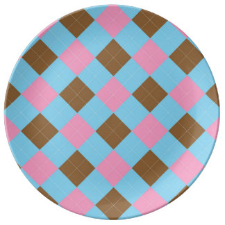 Blue, brown and pink argyle pattern plate