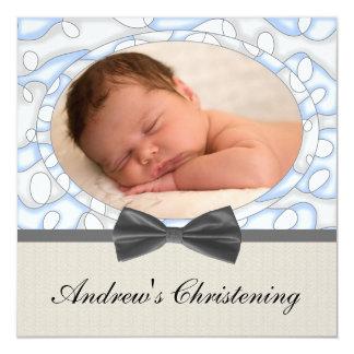 Blue Brown Boys Photo Christening Card