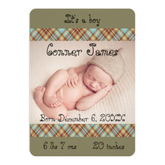 Blue Brown Plaid Baby Boy Photo Announcement