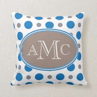 Blue & Brown Polka Dot Pillow