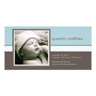 Blue | Brown Sweet Baby Boy Birth Announcement Customized Photo Card