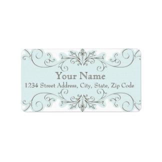 Blue Brown Wedding RSVP Envelope Address Label