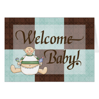 Blue & Brown Welcome Baby Boy Congratulations Card