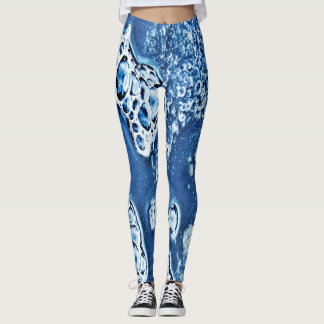 Blue Bubbles Ice and Water Abstract Leggings