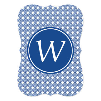 Blue Bullseye Monogrammed blue type Card