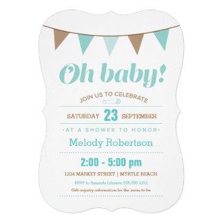 Blue bunting baby shower invitation